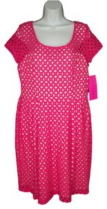 Maxi Dress by Betsey Johnson Eyelet Laser Cut Cut Out Pink Sheath