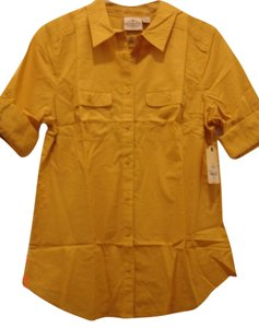 St. John Button Down Shirt Hot Mustard Yellow
