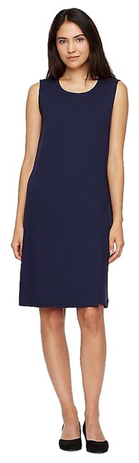 Midnight Maxi Dress by Eileen Fisher Made In Usa Polished Knit Knee-length Faux Wrap