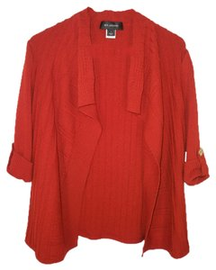 St. John Knit Santana Orange Rust Logo Cardigan