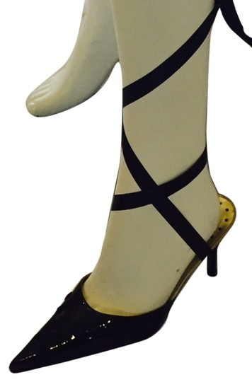 Sergio Zelcer Strappy Pointedtoe Patent Tieup Pumps