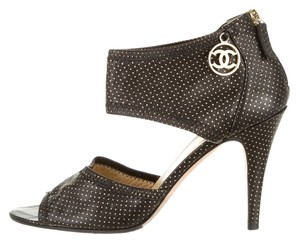 Chanel Black Leather Print Metal Sandals