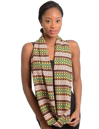 Belle by Sigerson Morrison Private Boutique Women's BLUE Silky Fashion Multi-colored Tribal Print Infinity Scarf