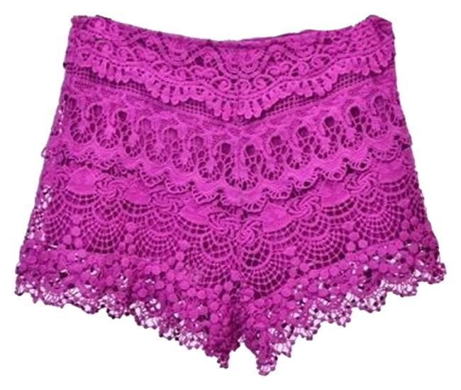 Other Crochet Lace Mini Shorts Magenta