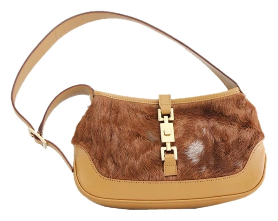 c13f29833a4 Gucci Jackie Never Carried Mini O Tan Pony Hair   Leather Baguette ...