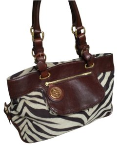 Antonio Melani Zebra Print Leather Leather Handbag Brown Handbag Leather Satchel in Brown Zebra