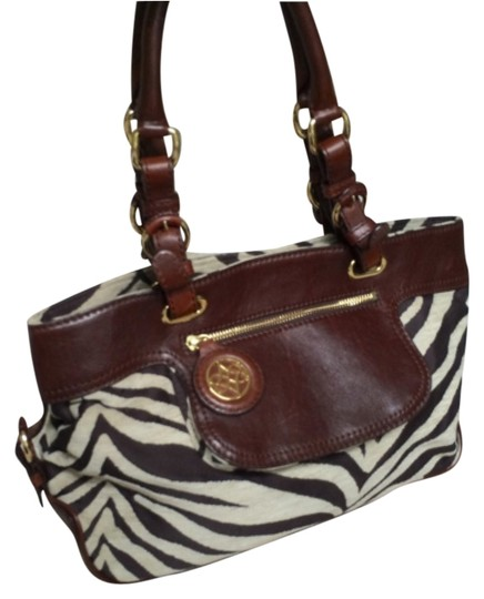 Antonio Melani Print Leather Purse Leather Handbag Handbag Leather Satchel in Brown Zebra
