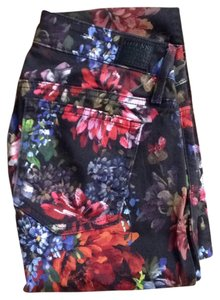 Guess Denim Stretch Low Rise Floral Floral Denim Jeggings Leggings Flowers Evening Stylish Skinny Jeans-Dark Rinse