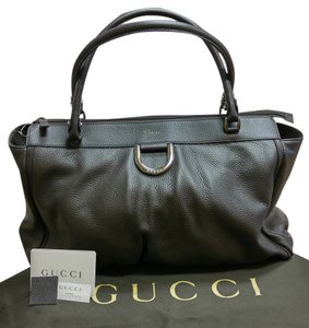 Gucci Pebbled Leather Tote in Slate