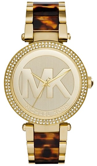 Michael Kors Brand New Parker Tortoise Acetate and Gold Watch 39mm MK6109