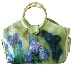 Violet Luck Hand Painted Decoupaged Green Beach Bag