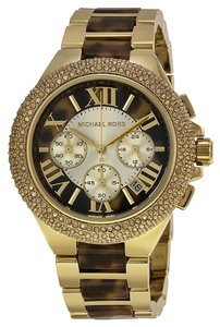 Michael Kors NWT Chronograph Camille Tortoise And Gold-Tone Stainless Steel Bracelet Watch 43mm MK5901