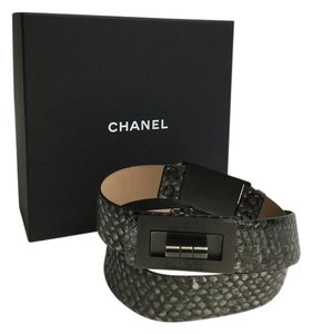 Chanel CHANEL PYTHON EMBOSSED LEATHER STUDDED LOCK BELT