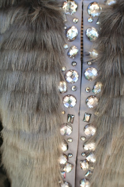 Boston Proper Faux Embellished Jeweled Fur Coat