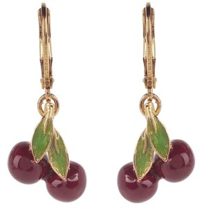 Joan Rivers RARE SIGNED JOAN RIVERS CLASSIC COLLECTION CHERRY LEVERBACK EARRINGS