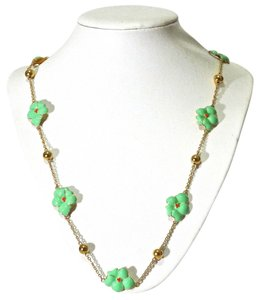 Kate Spade Kate Spade New York Green Gold Flower Long Necklace