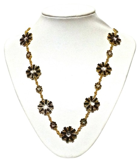 Kate Spade Kate Spade New Black Gold Crystal Flower Long Necklace