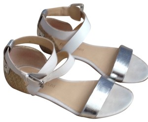 Enzo Angiolini Sandals Metallic Silver White Criss Cross Strap Comfortable white/silver Flats