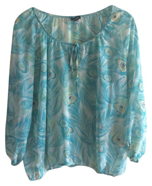 Preload https://item3.tradesy.com/images/h-and-m-blue-and-yellow-peacock-blouse-size-8-m-6060022-0-0.jpg?width=400&height=650