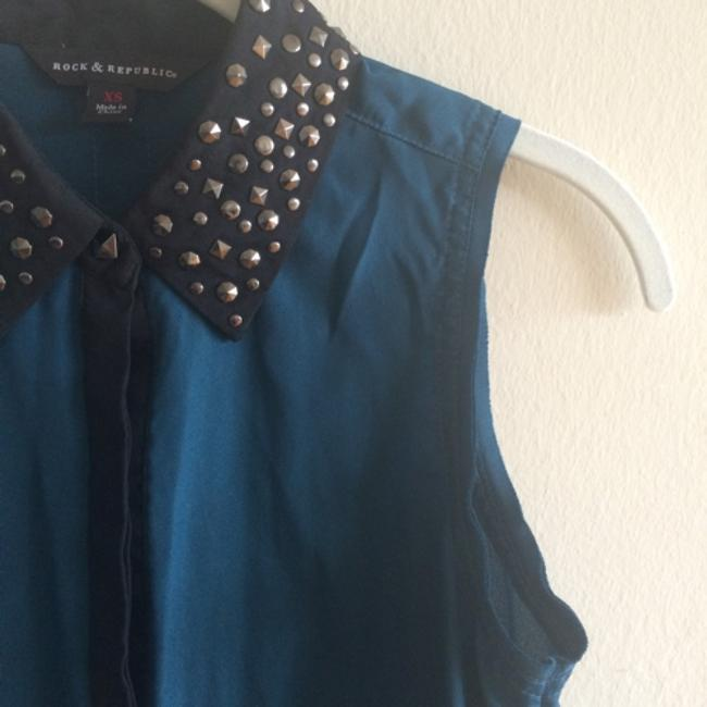 Rock & Republic Button Down Shirt Blue and Black