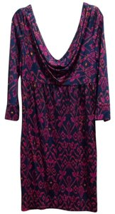 Diane von Furstenberg short dress Magenta/navy on Tradesy