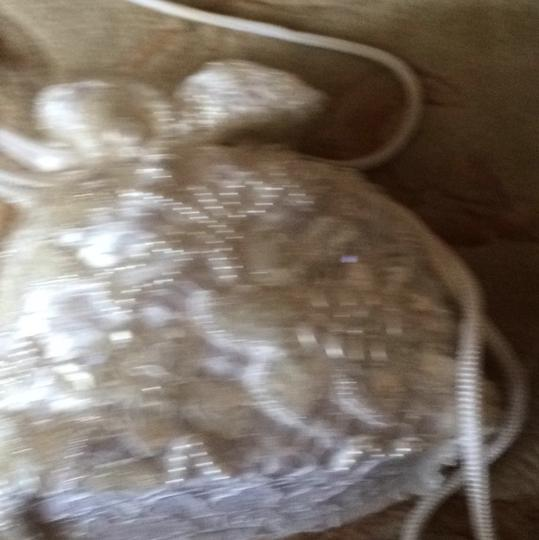 Michelangelo White/beaded With Pearls And Clear Sequins Clutch