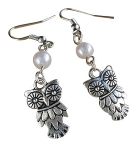 New Cute owl pearl drop earrings romantic flying bird vintage silver woodland cottage flower shabby chic retro cute dangle jewellery accesso