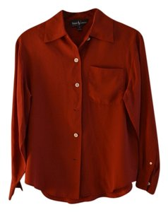 Ralph Lauren 100% Made In Usa Dry Clean Top Red silk blouse