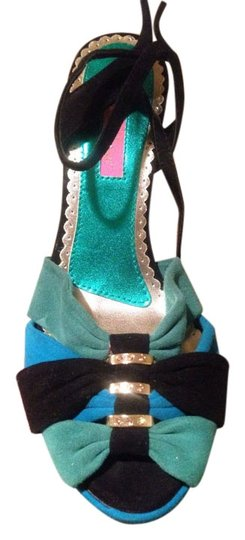 Betsey Johnson Green, Turquoise, Black Sandals