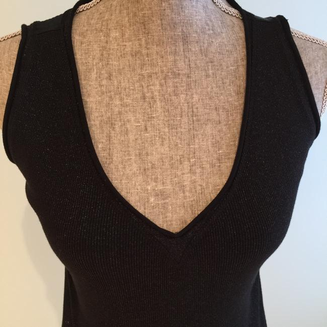 Ideology Size Small V-neck Top Black Metallic