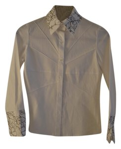 Verde & mela Casual Top white and brown floral