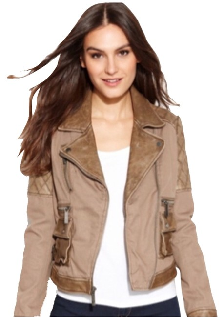 Preload https://item1.tradesy.com/images/michael-kors-khaki-leather-jacket-size-8-m-6062080-0-0.jpg?width=400&height=650