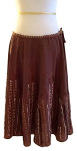 Vince Casual Embroidered Made In India Dry Clean Skirt brown, beige, rust