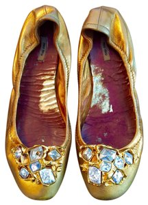 Miu Miu Jeweled Crystal Gold metalic Flats