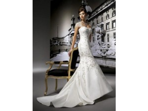Jasmine Couture Bridal Ivory Satin T181 Formal Wedding Dress Size 6 (S)