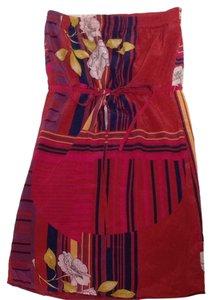 Lux short dress Burgundy/red & Multi Floral on Tradesy
