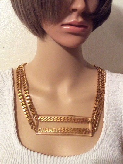 Chanel CHANEL SUPER RARE '97P GOLD PLATED CHAIN LINK LUCITE BELT