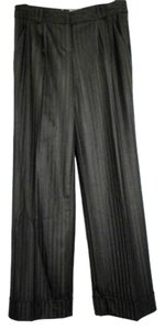 Trina Turk Stripes Wool Straight Pants BLACK