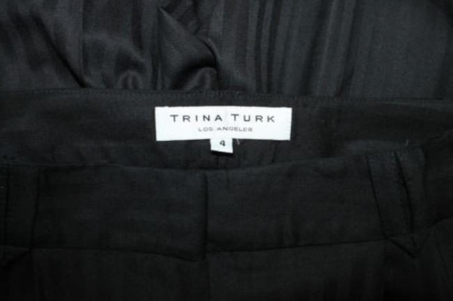 Trina Turk Stripes Wool Dress Straight Pants BLACK