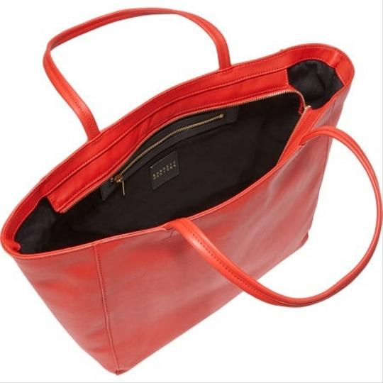 Barneys New York Super Soft Leather Red Tote in Red