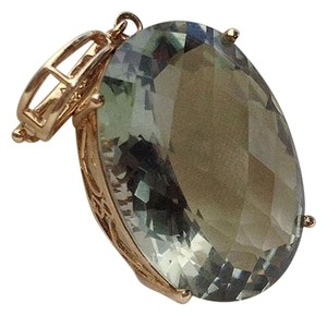 Green Quartz Pendant in Gold Basket
