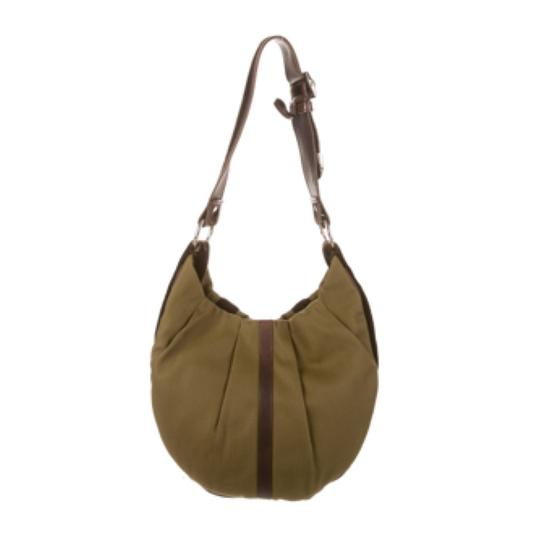 Saint Laurent Ysl Canvas Suede Hobo Bag