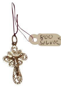 Filigree style. Jesus Crucifix Cross Pendant. Silver 800. New.