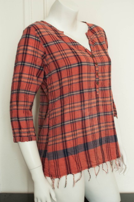 Saks Fifth Avenue Blouse Shirt Maison Scotch Tartan Plaid Flannel Woven Quarter Sleeve Crewneck Boatneck Hippy Hippie Hipster Boho Fall Tunic
