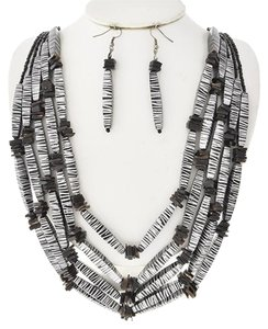 Black & Silver Acrylic & Shell Necklace and Earrings