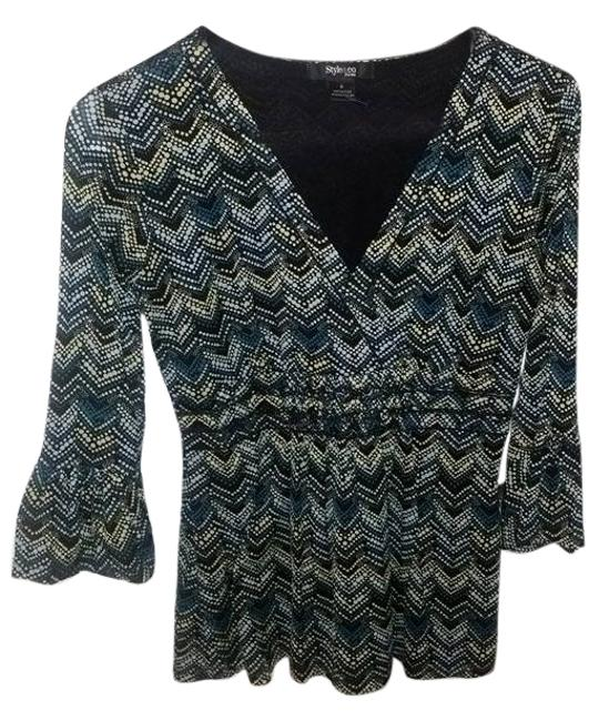 Preload https://item4.tradesy.com/images/style-and-co-blackbluetealyellow-co-34-sleeve-lined-blouse-size-petite-4-s-6064783-0-0.jpg?width=400&height=650