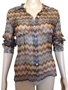 Barbara Bui Longsleeve Button Down Sheer Fitted Silk Top Brown Multi