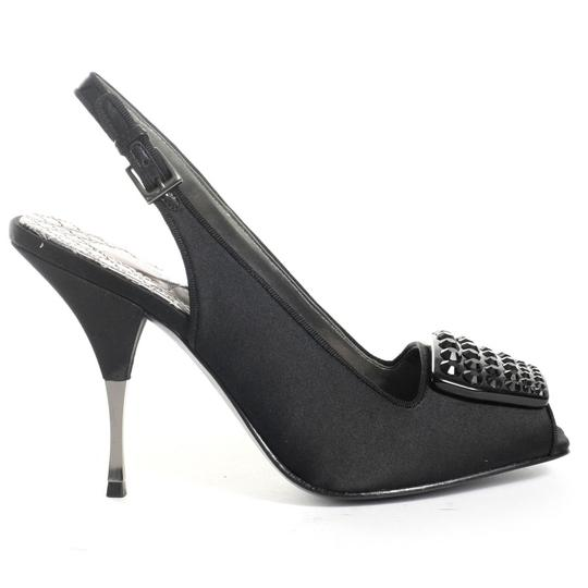 Vince Camuto Slingback Jeweled Satin Black Formal