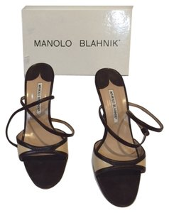 Manolo Blahnik Twotone Strappy Black Sandals