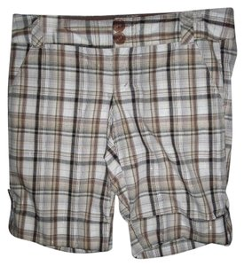 Rue 21 Brown Cream Light Blue Plaid Cuffed Shorts Brown/Cream/Gold